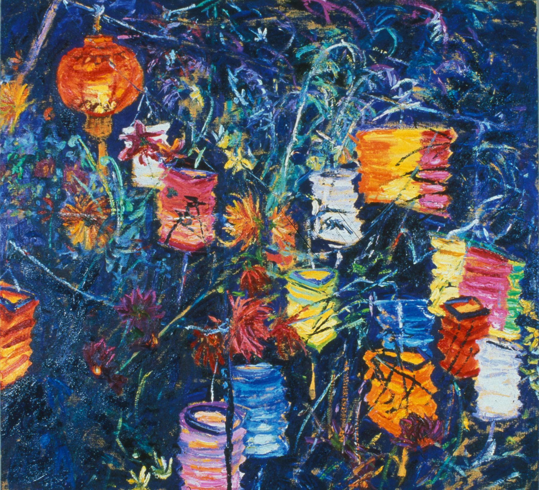 Paper Lanterns and Dahlias